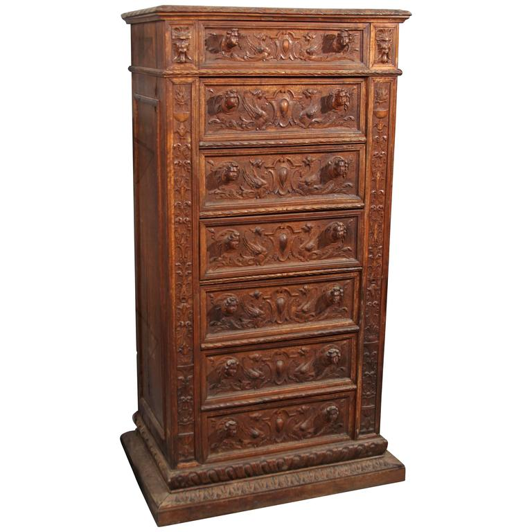 Hand-Carved Highboy or Chest