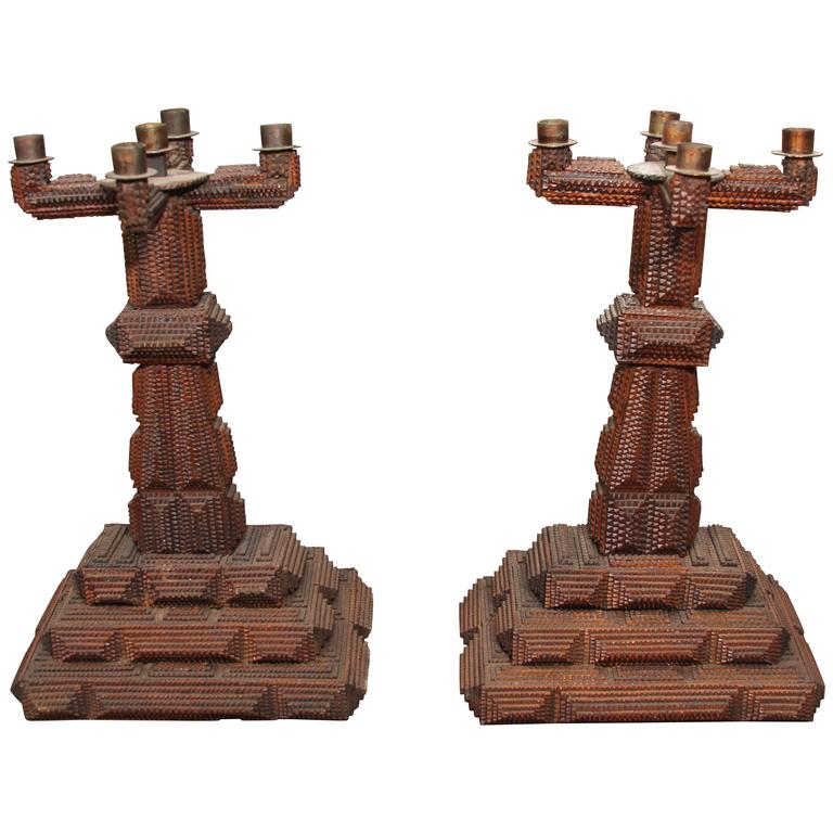 Pair of Tramp Art Candlesticks 1