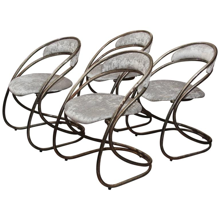 Set of Four French Casino Chairs For Sale