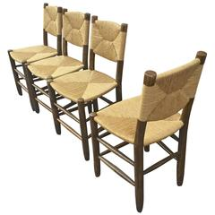 Charlotte Perriand Set of Four Rush Chairs, Model Bauche, Good Vintage Condition