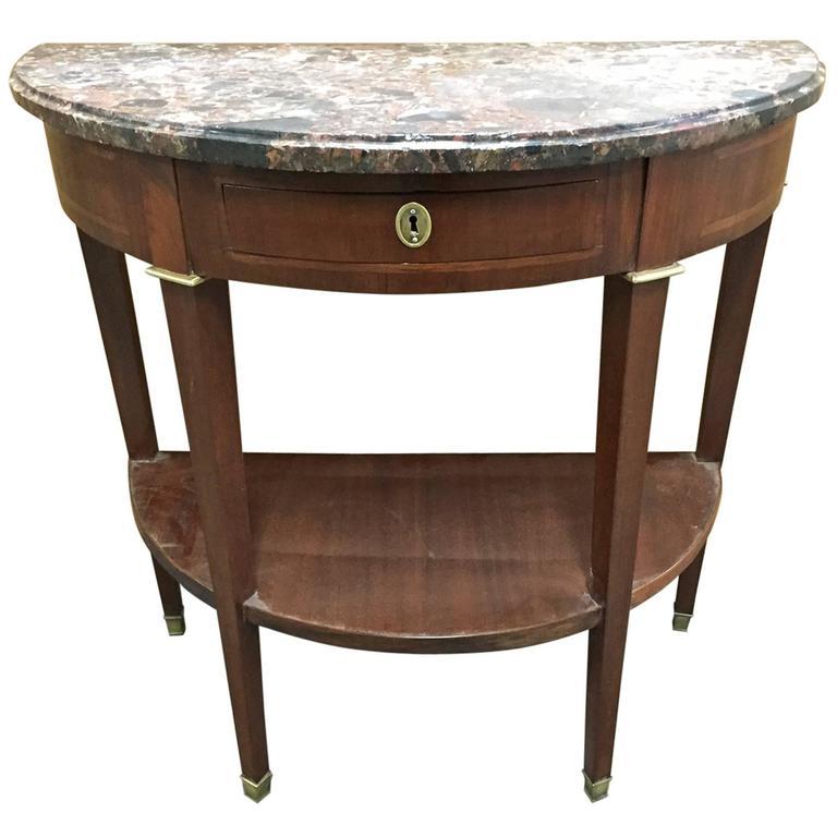 Period louis xvi demilune console table in mahogany with a for Demilune console table with drawers