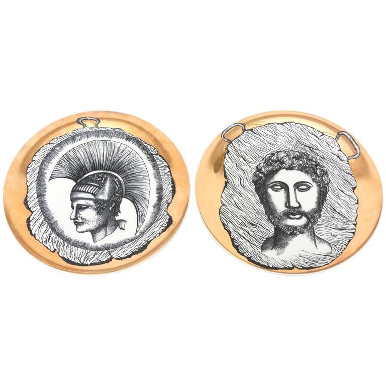 Set of Two Italian Fornasetti Style Bucciarelli Porcelain Plates /SAT. SALE