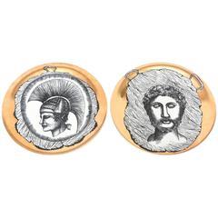Set of Two Italian Mid Century Fornasetti Style Bucciarelli Porcelain Plates