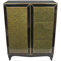 1970s One-of-a-Kind Italian Brass & Black Glass Cabinet with Green Lace Inlays