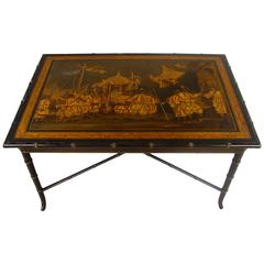 Vintage Chinoiserie Style Table on Faux Bamboo Stand