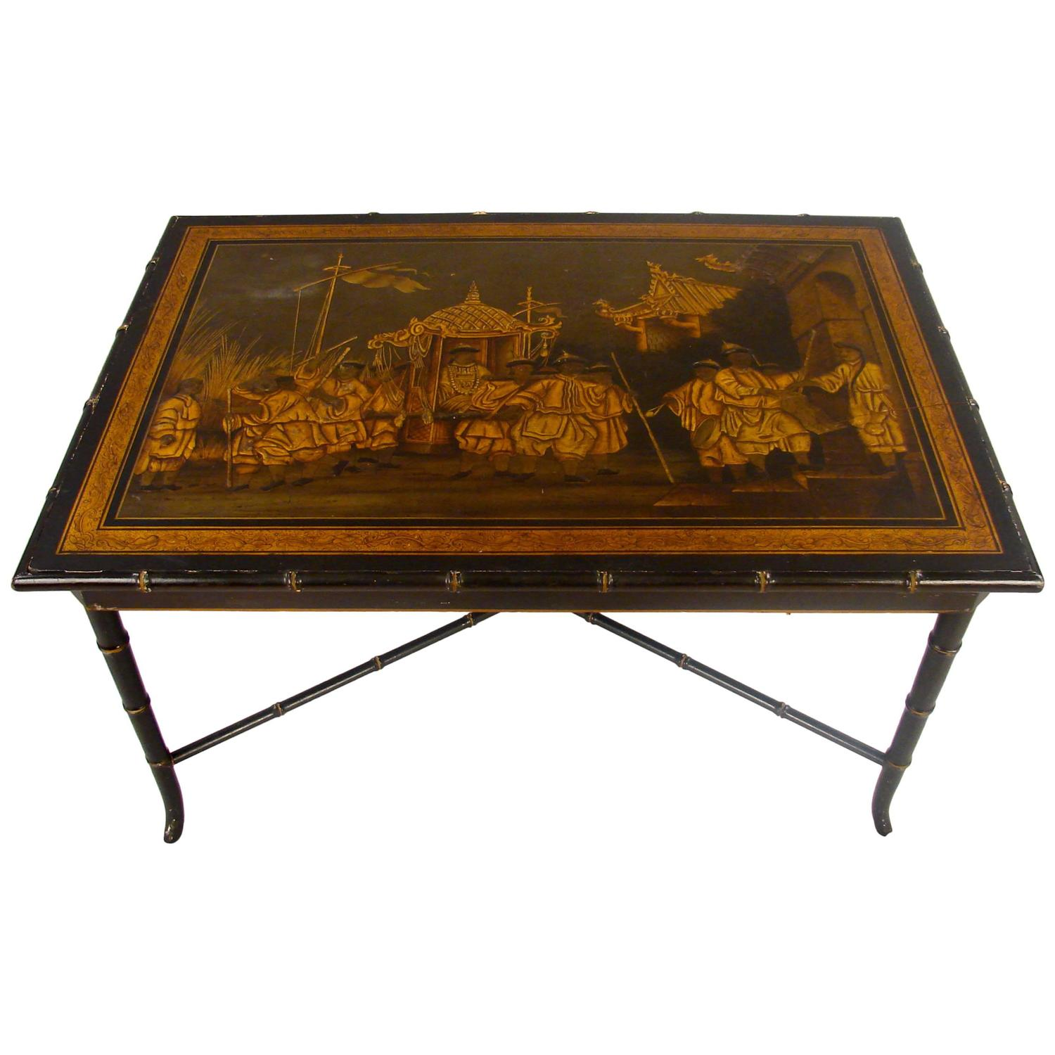 Vintage Chinoiserie Style Table On Faux Bamboo Stand At 1stdibs