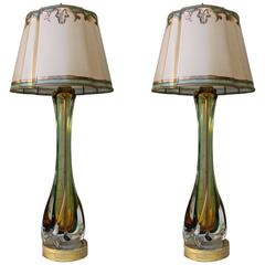 Pair of Italian Art Glass Lamps with Parchment Shades