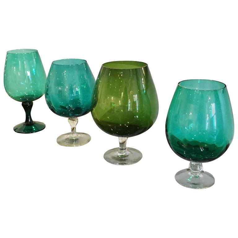 Mid Century Argentinian Handblown Multi-Green Hues Large Brandy Snifters / Vases