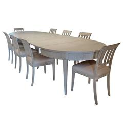 Gustavian Style Swedish Dining Table and Ten Chairs