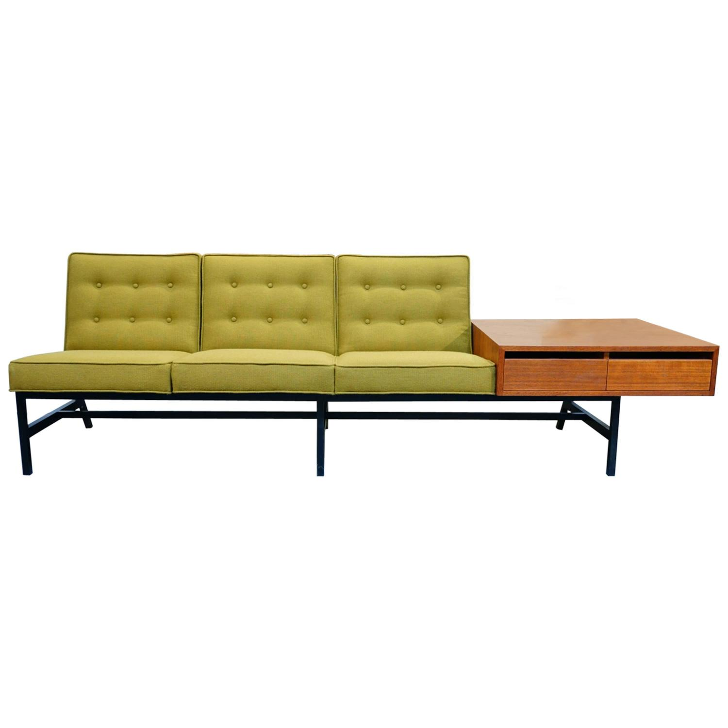 knoll sofa with new maharam upholstery and teak cabinet at 1stdibs. Black Bedroom Furniture Sets. Home Design Ideas