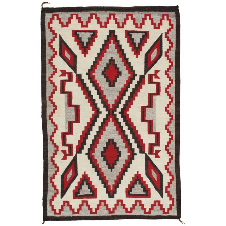 Vintage Navajo Carpet, Oriental Rug, Handmade Wool Rug