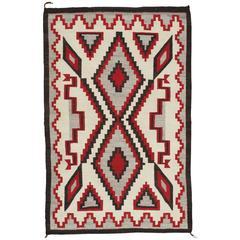 Vintage Navajo Carpet, Oriental Rug, Handmade Wool Rug, Red, Black, Ivory, Bold