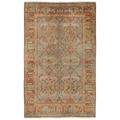 Antique Tabriz Rug, Handmade Oriental Rug in Terracotta, Light Blue and Taupe