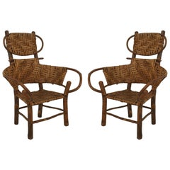 Pair of American Rustic Old Hickory Children's Armchairs
