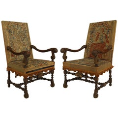 Pair of English Renaissance Style Tapestry Armchairs