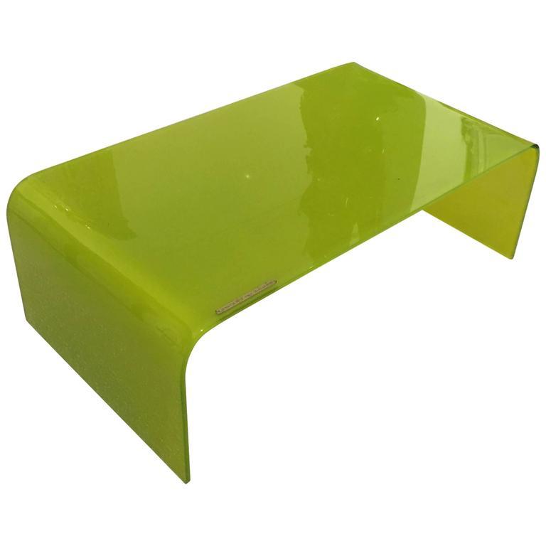 1960s Italian Green Glass Waterfall Coffee Table by Stratos Rett, Italy 1 - 1960s Italian Green Glass Waterfall Coffee Table By Stratos Rett
