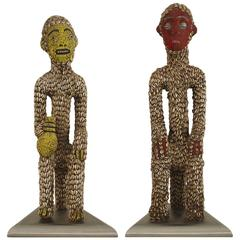 Pair of Turn of the Century African Cowrie Shell Fertility Statues