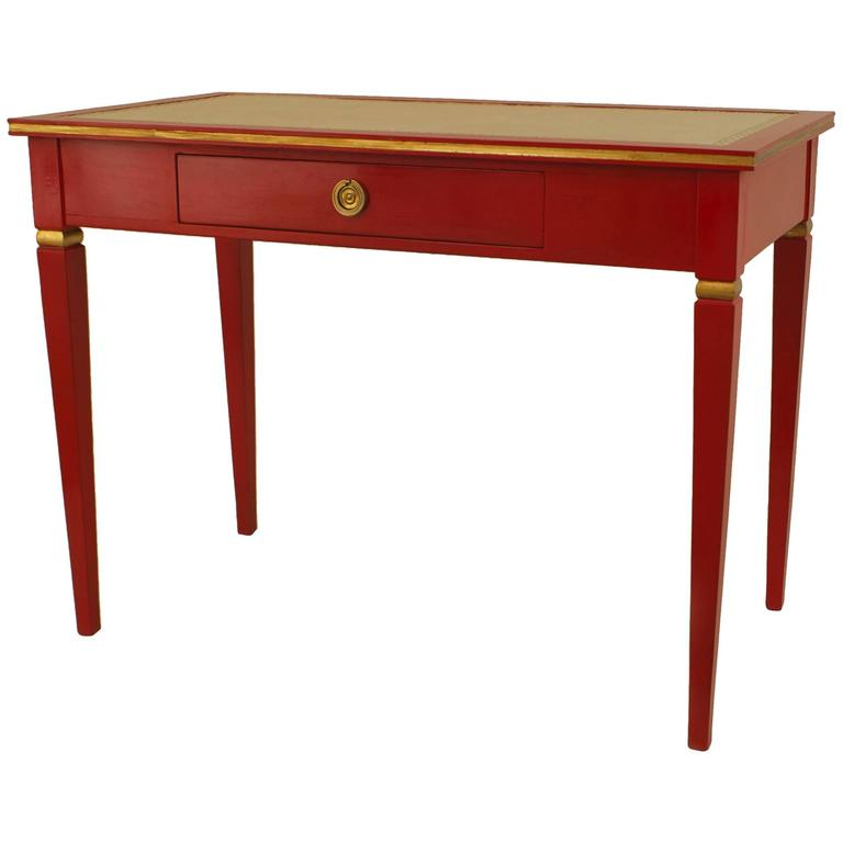 1940s French Directoire Style Gilded Red Lacquer Desk by Jansen