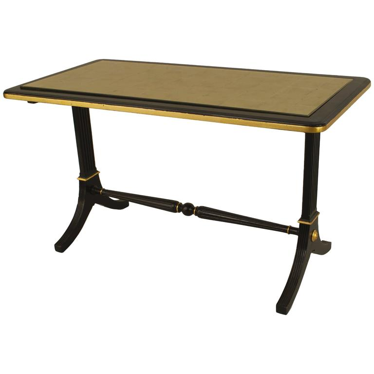 1940s French Gilt Glass and Ebonized Wood Coffee Table by Jansen For Sale