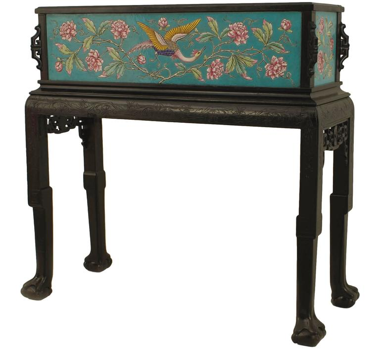19th Century French Carved Chinoiserie Fernery Signed Maison Pichenot