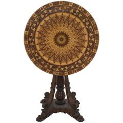 Mid-19th Century English Regency Style Marquetry Flip-Top End Table