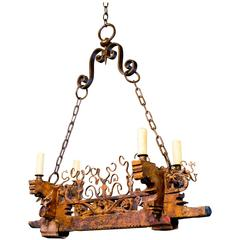 Unusual Vintage Handcrafted Iron and Wood Chandelier from Sicily