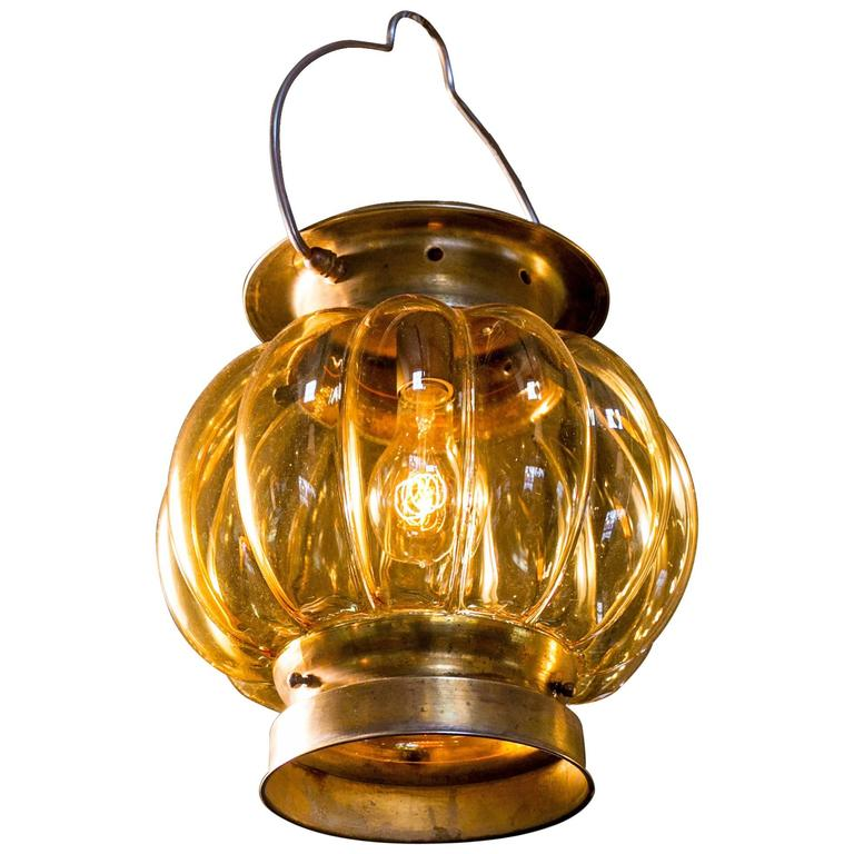 Blown Amber Glass and Brass Lantern from Italy, Circa 1960 1