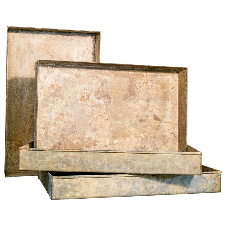 Decorative Boxes And Trays : Handmade riveted galvanized trays for sale at stdibs