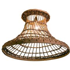 Vintage Rattan Pendant with Wooden Band