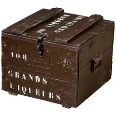 Antique Painted and Stenciled Wooden Liqueur Box with Lid