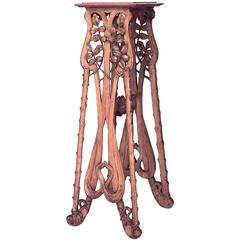 Turn of the Century French Art Nouveau Floral Stripped Wood Pedestal