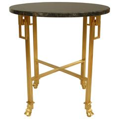20th Century French Louis XVI Marble-Top Ormolu End Table