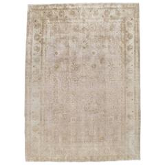 Antique Tabriz Carpet, Handmade Persian Rug in Floral Soft, Beige and Taupe