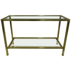 French Modern Neoclassical Brass & Glass Sofa Table/ Console by Jacques Quinet