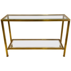 French Modern Neoclassical Double Level Bronze Sofa Table / Console Attr. Quinet