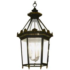 English Victorian Black Tole and Parcel-Gilt Hexagonal Hall Lantern, circa 1860