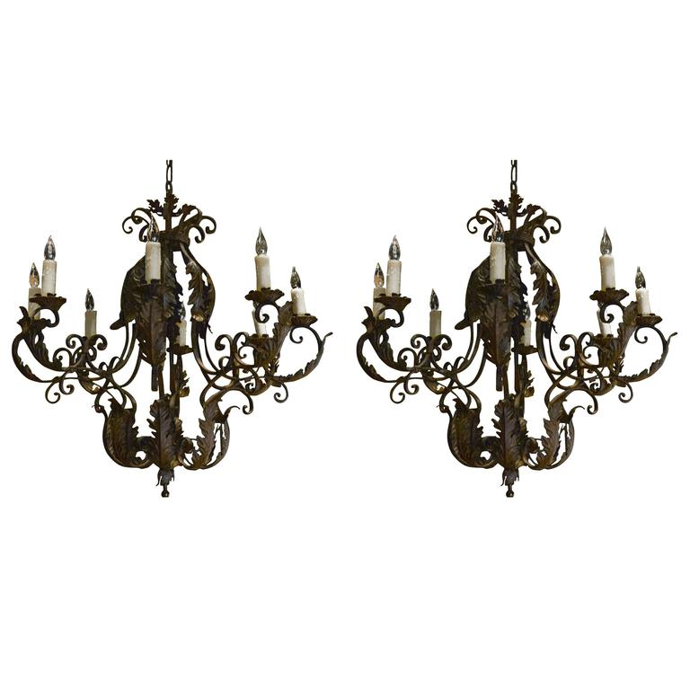 Pair of 1930s Italian Rococo Style Basket Form Tole and Iron Chandeliers For Sale