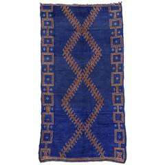 Vintage Berber Moroccan in Cobalt Blue with Modern Tribal Style