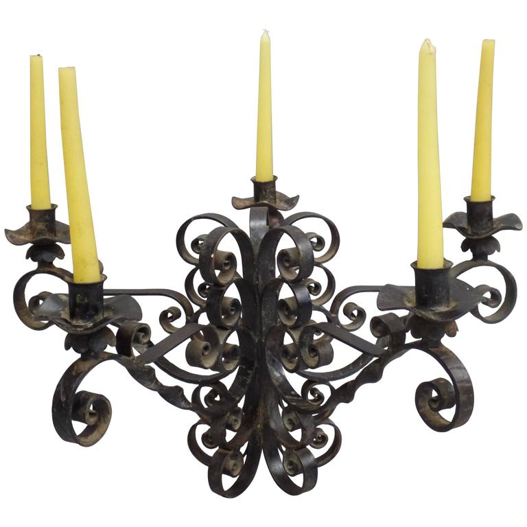 Spanish Wrought Iron Midcentury Candelabra, Centerpiece, Chandelier 1