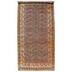 Vintage  Khotan Rug, Handmade Oriental Rug, Soft shrimp, Beige, Brown, Blue-Gray