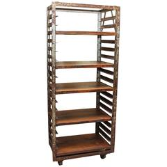 "1940s Industrial Age Laquered Steel Baker's ""Speed Rack"" with Wood Shelves"