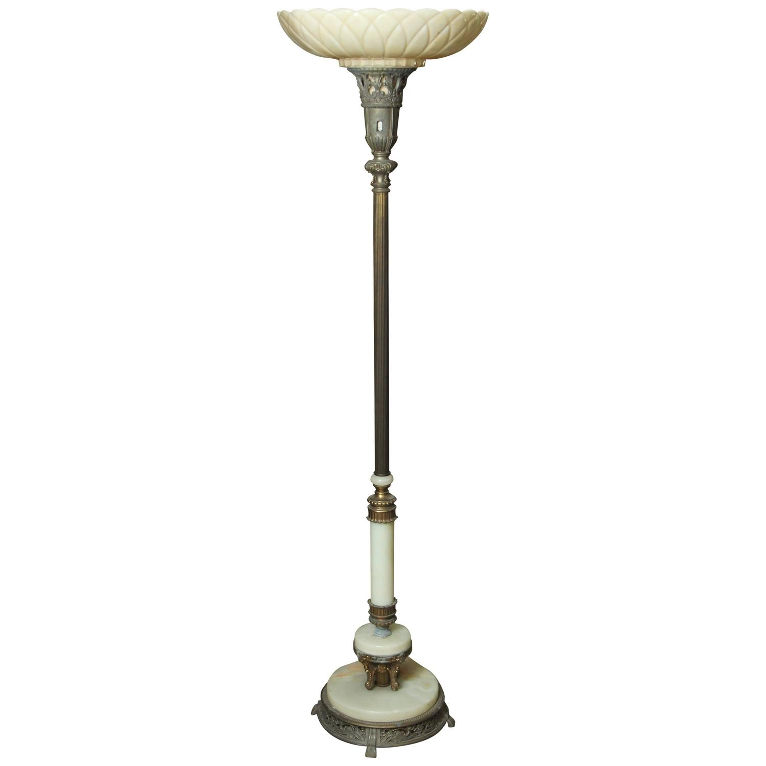 1930s Art Nouveau Torchiere Floor Lamp with Marble Base and Fluted ...