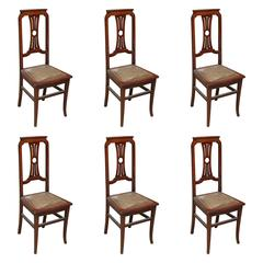 1940s Set of French Tall Lyre Back Carved Wood Dining Chairs with Leather Seat