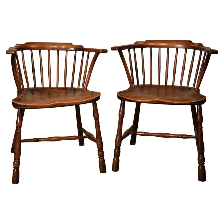 Rare 18th Century Pair Of Low Back Yew Wood Library Chairs