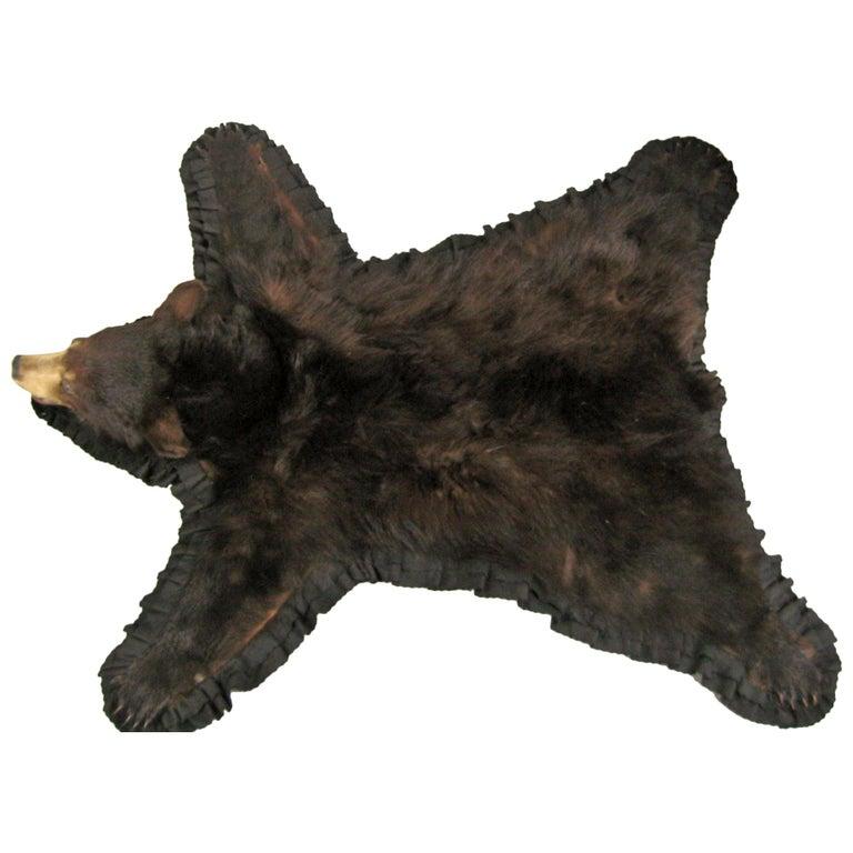 Bear Skin Rug Taxidermy Mounted Backed Brown
