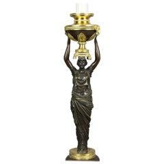 Russian Neoclassic Bronze and Ormolu Candlestick Lamp