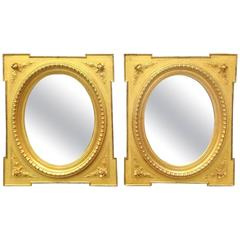 Fine Pair of Gilded Mirrors, Original Mirror Plates