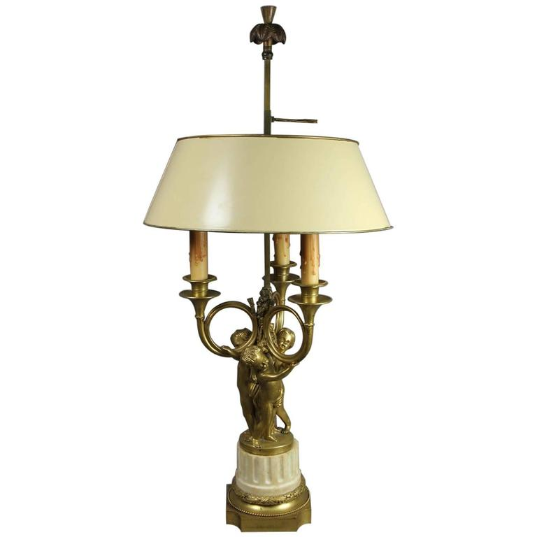 French Bronze and Marble Table Lamp