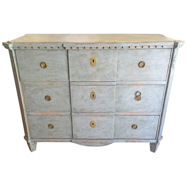 19th Century Gustavian Chest with Faux Marble Painted Top For Sale