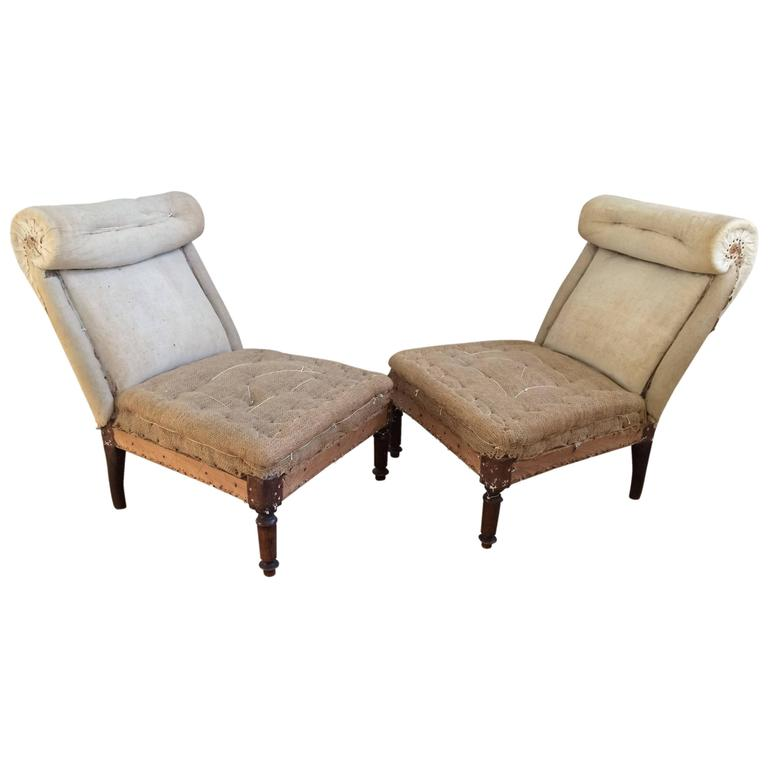 19th Century French Scroll Back Slipper Chairs